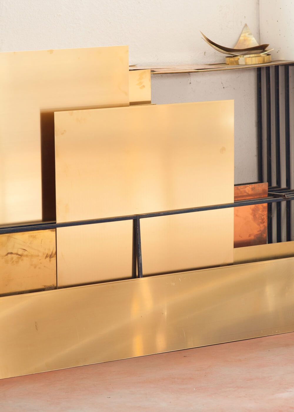 Marco Campardo Brass Elle Collection Wallpaper Design Awards winner for Seeds London Gallery work in progress